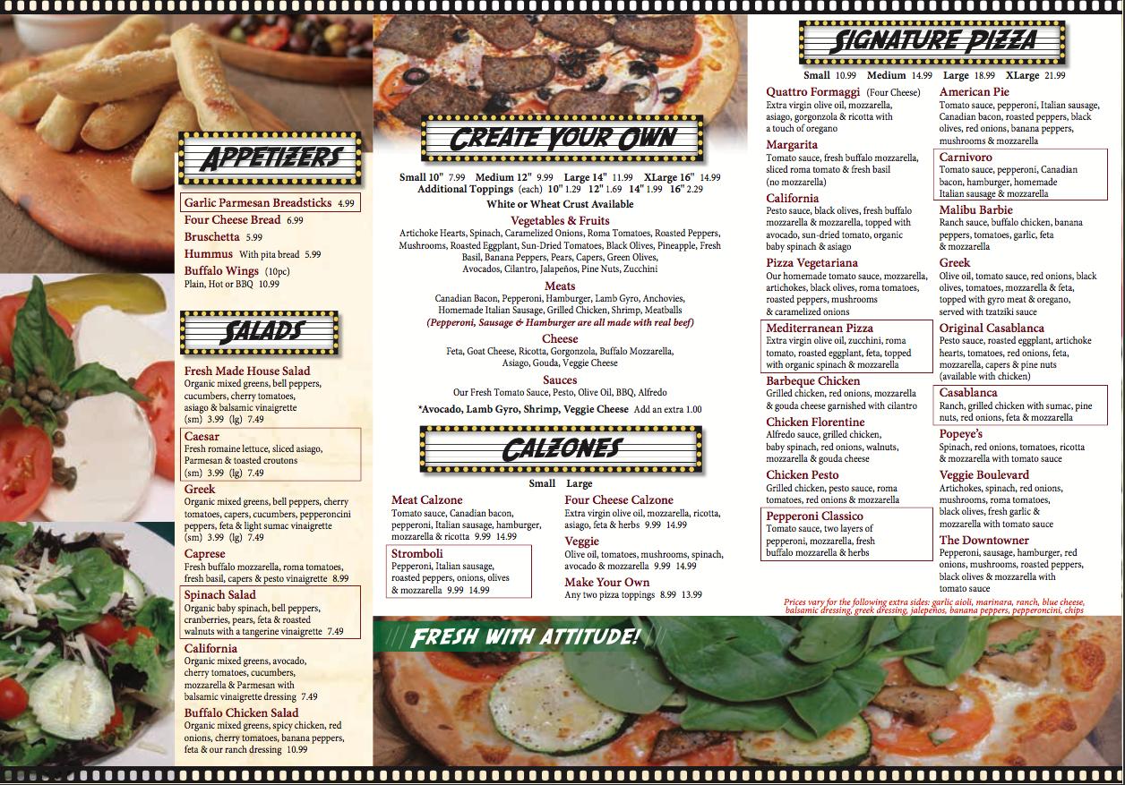 la pizza menu